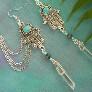 Zen ear cuff SET quartz ear cuff Hamsa ear cuff fatima turquoise in belly dancer tribal yoga fusion indie gypsy hippie morrocan boho